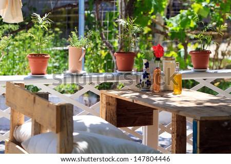 Outdoor restaurant table in Greece.