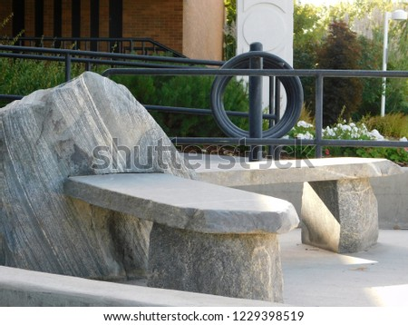 outdoor rock bench #1229398519