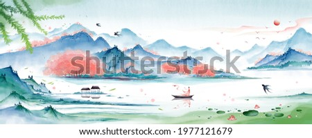 Outdoor scenery full of flowers.Oriental ink painting,green Mountain ink illustration