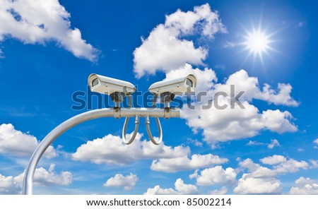 outdoor security cctv cameras against blue sky and sunshine
