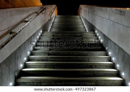 Outdoor Staircase With Granite Steps Spotlights Illuminated At Night