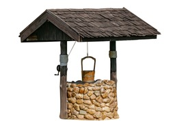 Outdoor Stone and Wood Water-Well on white background, isolated Water-well with roof and wooden bucket with rope.