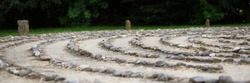 Outdoor stone labyrinth for meditation