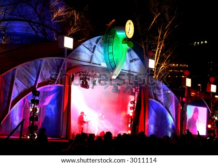 Outdoor Summer Concert with Colorful Stage Lights