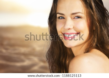 Outdoor summer portrait of pretty young smiling #1188125113