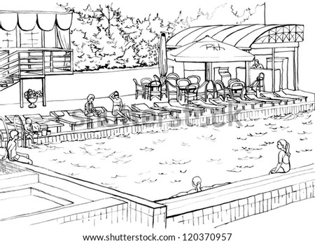 Outdoor swimming pool at an expensive hotel drawing inc for Swimming pool drawing