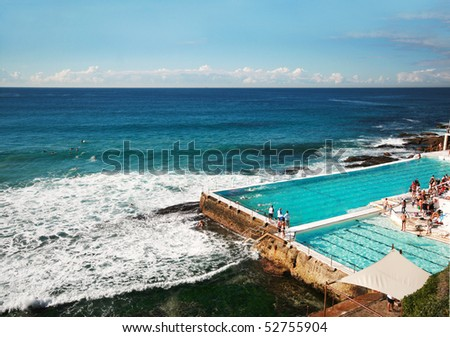 Outdoor swimming pool at Bondi beach, Australia