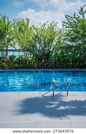Outdoor swimming pool in garden