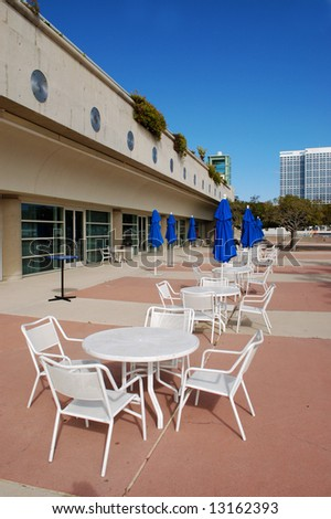 Outdoor tables and chairs; San Diego, California