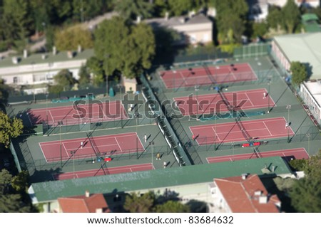 Outdoor Tennis Courts (Tilt Shift) - stock photo