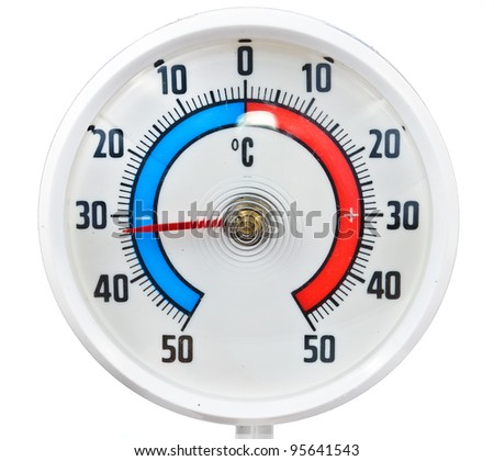 Outdoor thermometer. Photos isolated on white background
