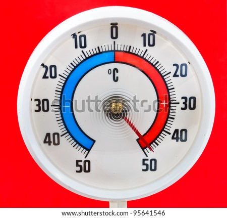 Outdoor thermometer. Photos on a red background
