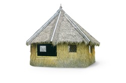 Outdoor tiki hut, beach hut bar, hay thatch hut, tribal hut, straw beach bar, tropical bungalow isolated on white background with clipping path.