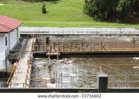 Outdoor view of a sewage processing plant - stock photo