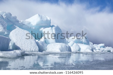 outdoor view of blocks of ice at frozen baikal lake in winter