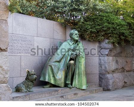 Outdoor view of Franklin Delano Roosevelt Memorial in Washington DC