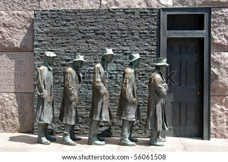 Outdoor view of Hunger sculpture of Franklin Delano Roosevelt Memorial in Washington DC