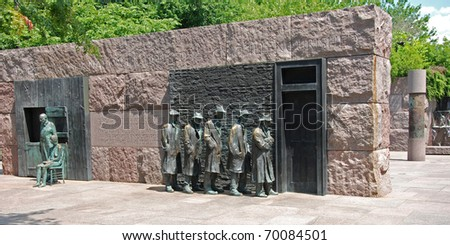Outdoor view of Hunger sculpture of Franklin Delano Roosevelt Memorial in Washington DC panorama