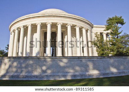 Outdoor view of Jefferson Memorial in Washington DC with clear blue sky in background.