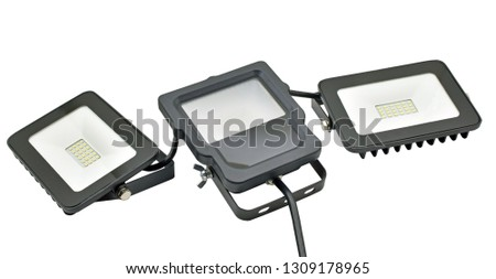 Outdoor Waterproof LED Floodlights Isolated On White Background #1309178965