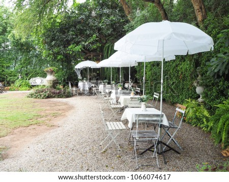 Outdoor wedding celebration in garden. Festive table setting, catering. Wedding in romance style in summer, beautiful small bouquets on a table. #1066074617