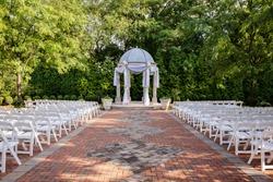Outdoor wedding ceremony location with gazebo