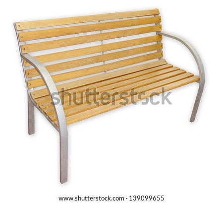 Outdoor wooden bench, perfect for parks or gardens