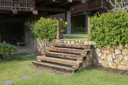 Outdoor wooden stair