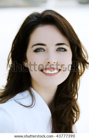 outdoors portrait of a expressive caucasian beautiful charming woman