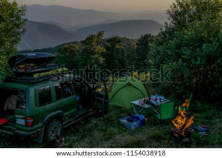 Outdoors traveling, camping
