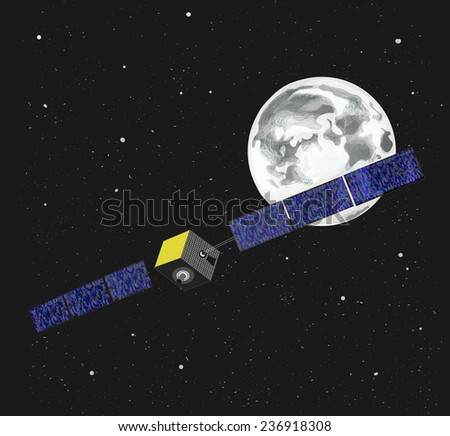 Outer space. Illustration with Moon, satellite and stars on dark background.
