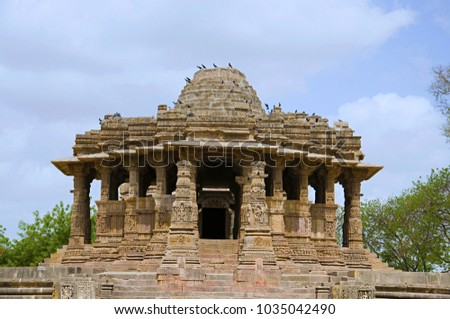 Outer view of the Sun Temple. Built in 1026 - 27 AD during the reign of Bhima I of the Chaulukya dynasty, Modhera, Mehsana,  Gujarat