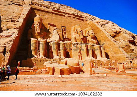 Outer view of the temple dedicated to Pharaoh Ramsesses 2, The twin temples were originally carved out of the mountainside during the reign of Pharaoh Ramesses II #1034182282