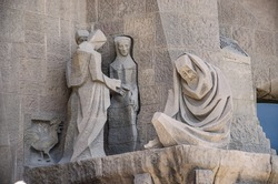 outer wall of the cathedral in Barcelona. Sagrada Familia