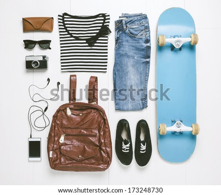 Outfit of casual woman./  Overhead of essentials skater woman.