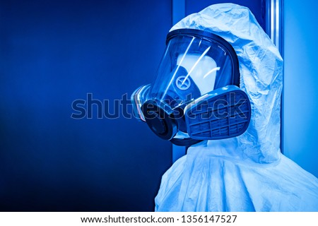 Outfit of gas mask with a panoramic mask. Filter respirator. Chemical protection. Respiratory protection against toxic substances. Personal protective equipment. #1356147527