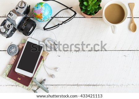 Outfit of traveler on white wooden background and copy space, Travel concept #433421113