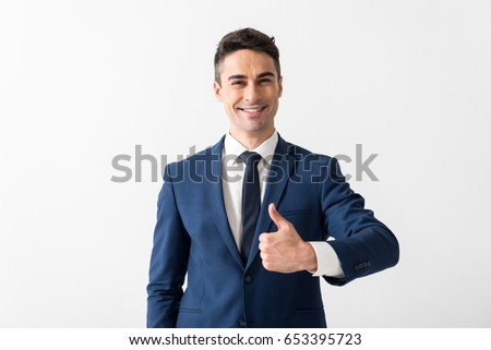 Shutterstock Outgoing man showing symbol cool