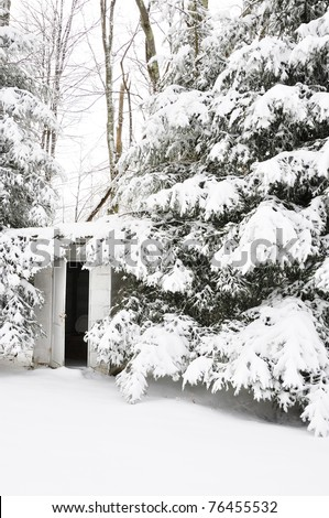 Outhouse for one-room school in a snow-covered landscape, Webster County, Wets Virginia, USA