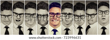 Outlier standing out guy. Happy smiling man among frustrated, sad, desperate, stressed himself. Positive thinking concept