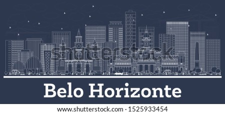 Outline Belo Horizonte Brazil City Skyline with White Buildings. Business Travel and Concept with Historic Architecture. Belo Horizonte Cityscape with Landmarks.
