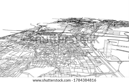 Outline city concept. Wire-frame style. 3d illustration