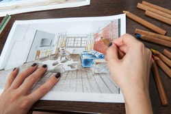 Outline drawings for the design of the kitchen design, everything is drawn in pencil. Beautiful, brick walls.