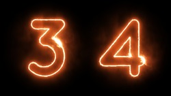 Outline Fire Numbers on Black Background