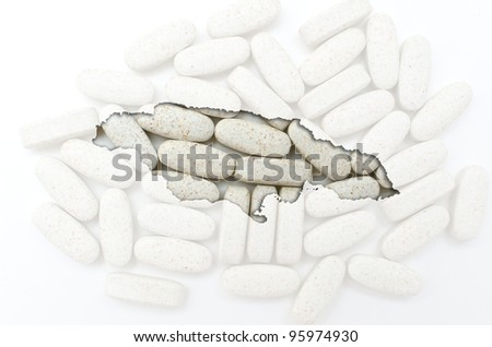 Outline jamaica map with transparent background of capsules symbolizing pharmacy and medicine