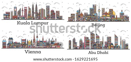 Outline Kuala Lumpur Malaysia, Abu Dhabi UAE, Beijing China and Vienna Austria City Skylines with Color Buildings Isolated on White. Cityscapes with Landmarks.