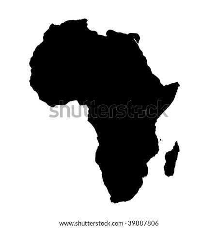 Outline map of African Continent isolated on white background with clipping path.