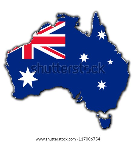 Outline map of Australia covered in Australian flag