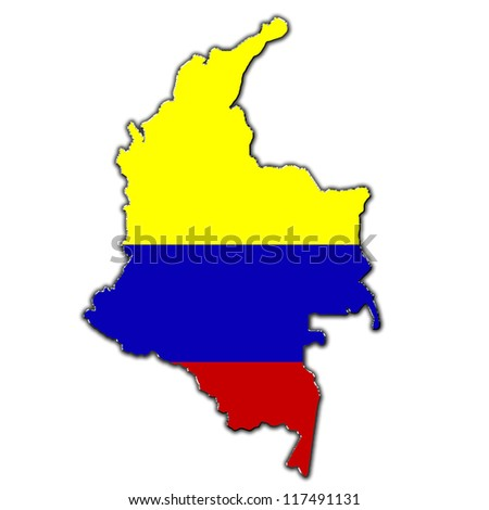 Outline map of Colombia covered in Colombian flag