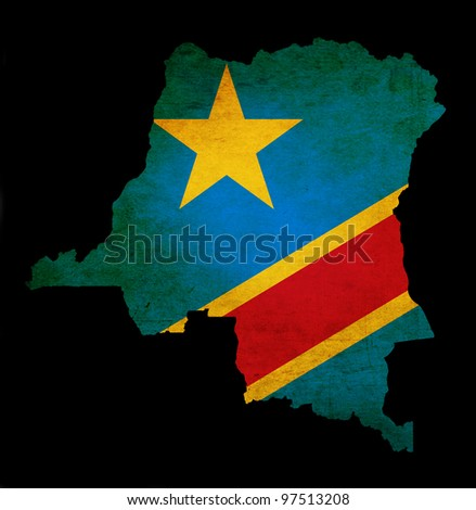 Outline map of Democratic Republic of Congo with flag and grunge paper effect